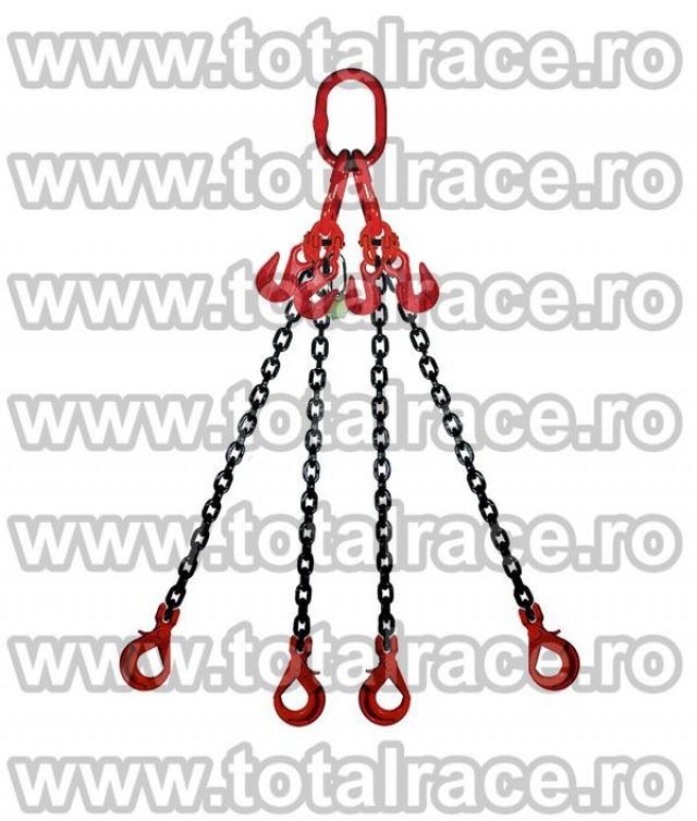 Sistem de ridicare din lant cu 4 brate cu carlige cu ochi si siguranta